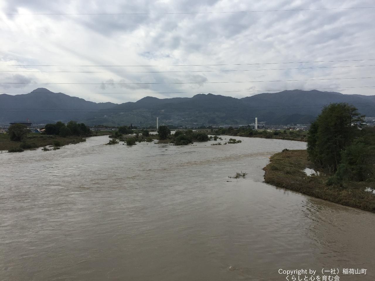 台風通過後の1日後の千曲川